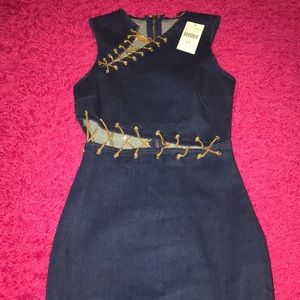 Denim Dress with Gold Chains